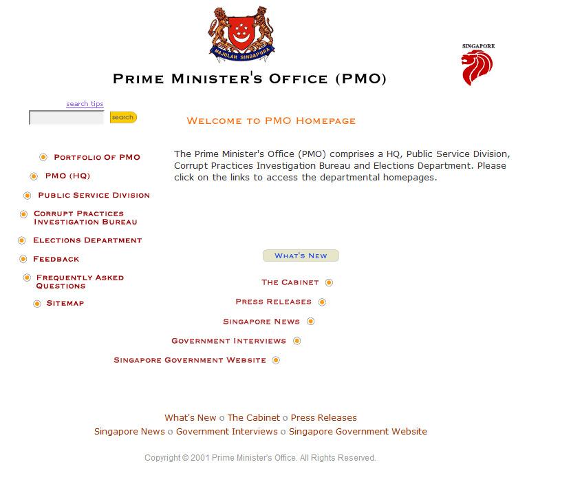Web Design PMO Singapore 2001