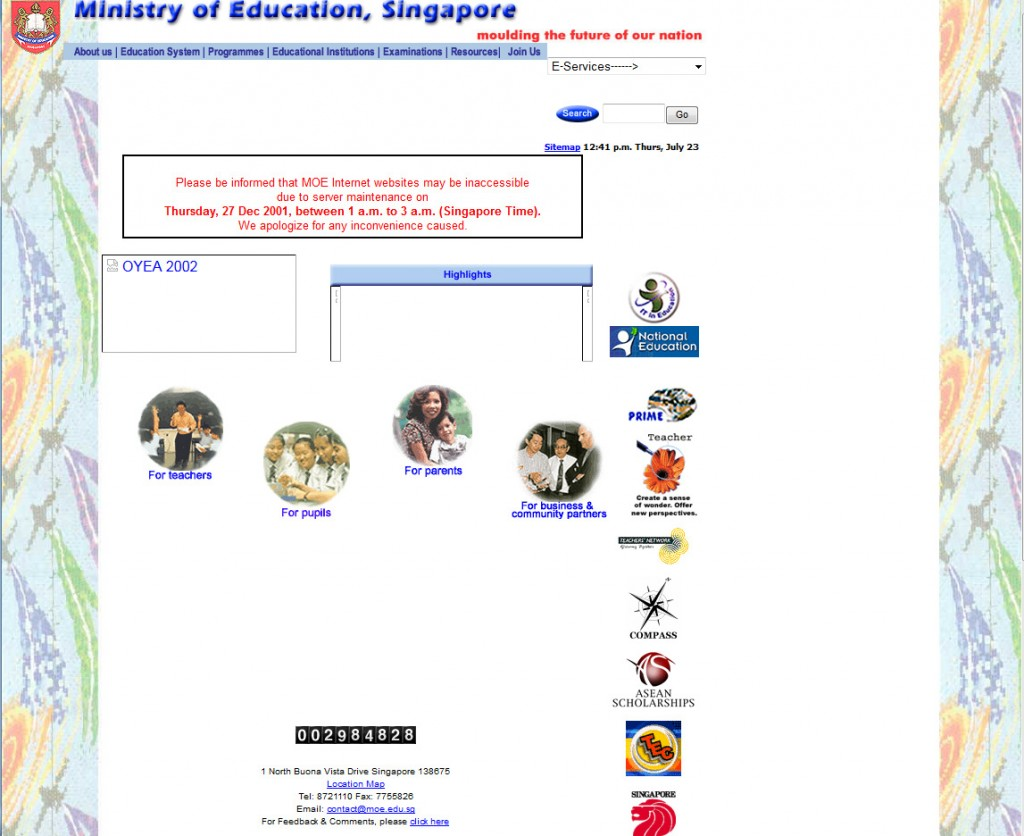 Web Design MOE Singapore 2002