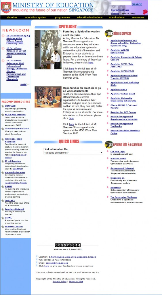 Web Design MOE Singapore 2003
