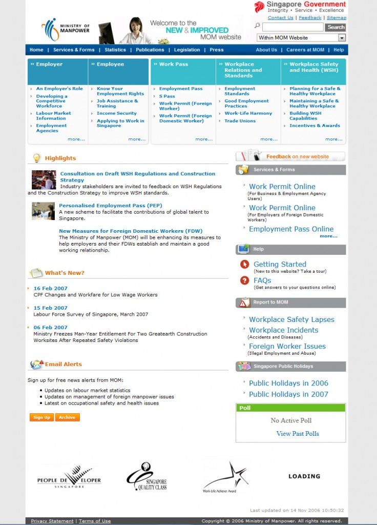 Web Design for Mom Singapore 2006