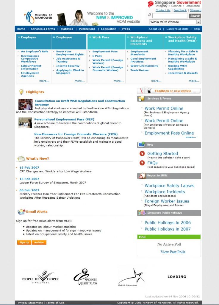 Web Design for Mom Singapore 2006