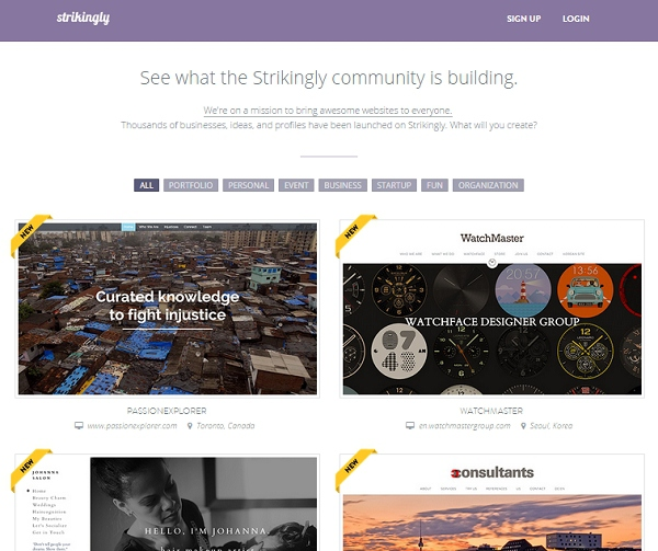 strikingly web design